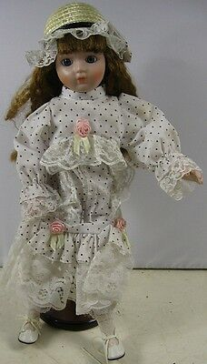 """Vintage 16"""" Tall Porcelain Doll With Dress 1989 Heritage Mint"""
