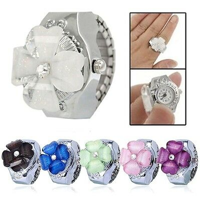 Women Lady Steel Round Clover Dial Elastic Finger Ring Quartz Watch Girl Gift