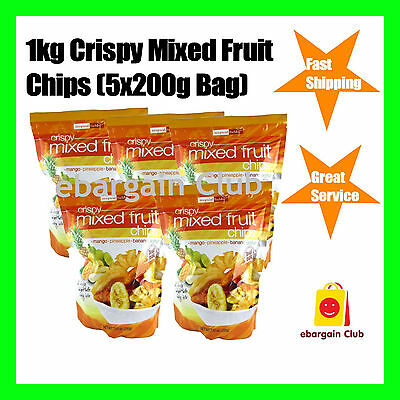 1kg Crispy Mixed Fruit Chips Home Office Snack Pack (5x200g Bag)