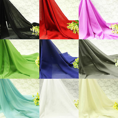 """Yard Soft Chiffon Georgette Voile Fabric Tulle Wedding Lining Material 59""""Sheer"""