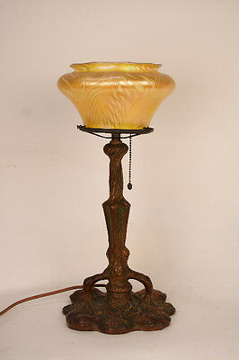 Early 1900's Quezal patinated bronze table Lamp