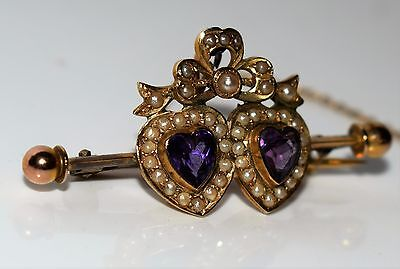 Fine Victorian Amethyst Pearl Double Heart and Bow 9ct GOLD Brooch Original Case