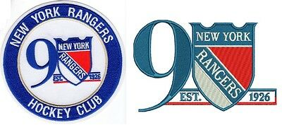 New York Rangers 90Th Anniversary Two Patch Set Hockey Club Stanley Cup Champs