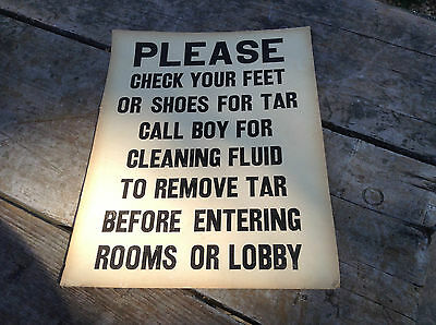 Vintage Hotel Sign Poster Please Check Your Feet For Tar