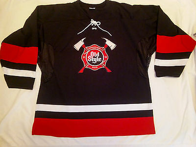 Old Style Fireman Hockey Jersey Beer Sign..Mens Large...New...MADE IN CANADA