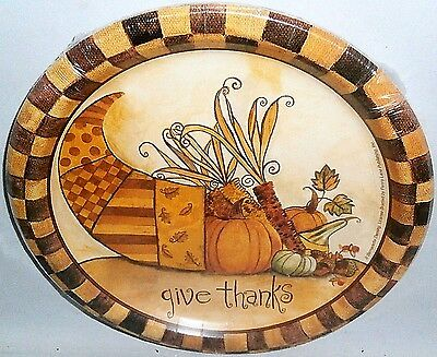 "Fall Paper Plates 10 ct   8 3/4"" Plates GIVE THANKS HORN OF PLENTY"