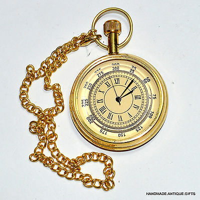 Vintage Collectible Nautical Solid Brass Pocket Watch Clock Marine Replica Gift
