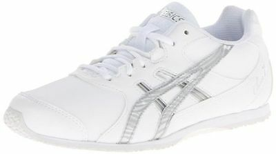 New Asics Cheer 7 GS Cheerleading Shoe White & Silver Kids Size 1