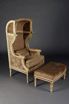 B-Sam-100 Bergere/Chair with stool in the Style of the Louis XVI