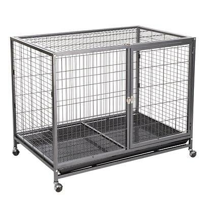 Large Indoor Cage L Dog Removable Floor Tray WITH WHEELS Training Puppies Dogs