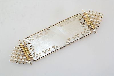 """Donna Chambers Mother Pearl MOP 14k Yellow Gold Chinese Game Chip 4"""" Pin Brooch"""