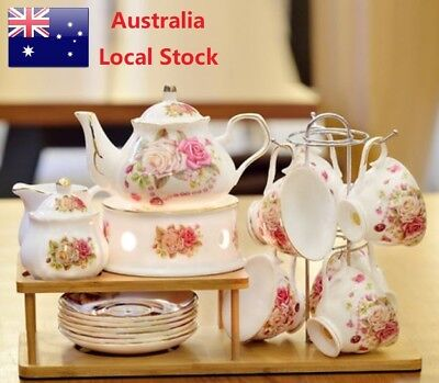 23 Piece Porcelain English Afternoon Tea Set Flower Pattern In Deluxe Gift Box
