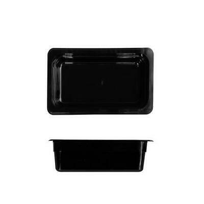3x Bain Marie Tray / Black Polycarbonate Food Pan Gastronorm 1/4 Size 150mm Deep