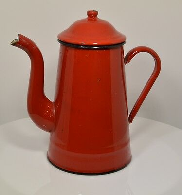 French Enamelware Red Coffee Pot Cafetiere. Graniteware Vintage South of France