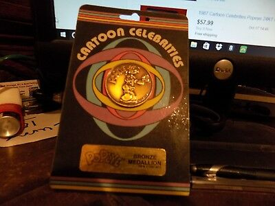 Popeye 1987 Comics Cartoon Celebrities Bronze Coin Medallion Rare Carded Sealed