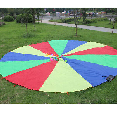 Parachute Outdoor Game Exercise Sport Toy 8 Handles Kids Play Rainbow Useful