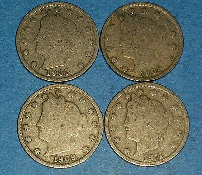 Lot of Liberty Nickels 1903,08,09.11  ID #11-16,62,77,89