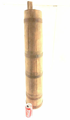 "1800's  Huge & Heavy Antique Primitive Wood Butter Churn Barrel ~ 37""/ 12.74 lbs"