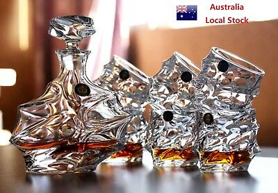 7 Piece Glass Whiskey Bottle And Cups Set 900ml Whiskey Bottle + 6 Whiskey Cups