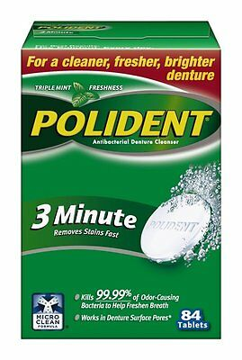 Polident 3 Minute Tablets Denture Cleanser, 84 Count
