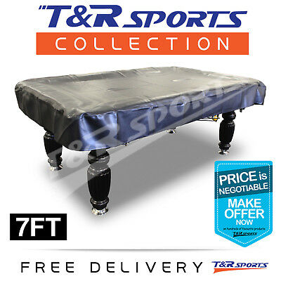 7Ft Pool Snooker Billiards Table Cover Heavy Duty Quality Black Free Delivery