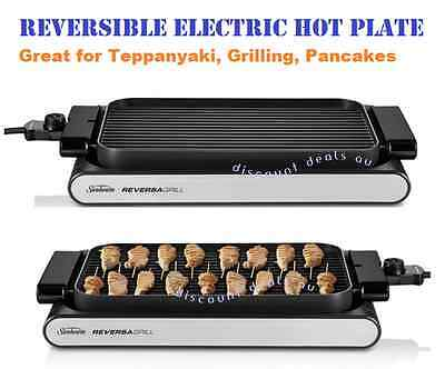 Electric Teppanyaki BBQ Grill Hot Plate Portable Griddle Reversible Sunbeam NEW