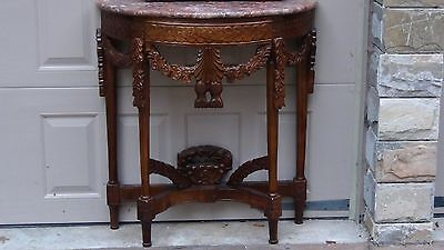 EARLY 20c CHINESE SET OF MAHOGANY HALF MOON CARVED TABLE AND CARVED FRAME MIRROR