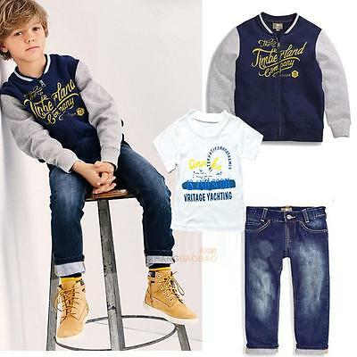 3Pcs Boys Kids Outfits Baseball Coat + T-shirt Tops + Denim Pants Clothes Set