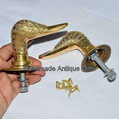 Antique Solid Brass Duck Door Handles Knobs Architectural Vintage with Plates • CAD $43.18