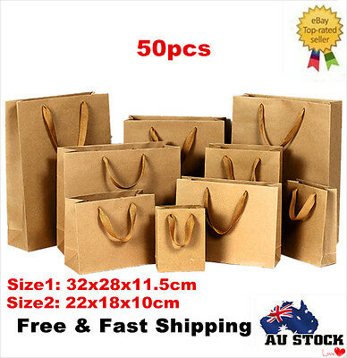 50pcs Medium Kraft Brown Paper Gift Carry Shopping Bags with Handles 2 Size