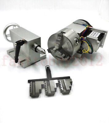 Hollow Shaft Rotary Axis CNC Router Table 4th Axis 100mm 3 Jaw Chuck & Tailstock
