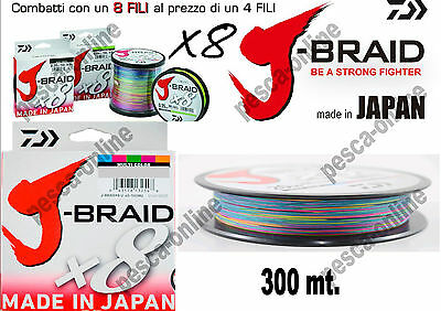 TRECCIATO J-BRAID X8 DAIWA MULTICOLOR 300 mt. MADE IN JAPAN Nuovo riassortimento