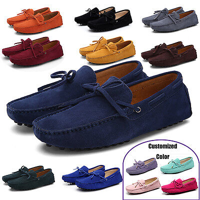 Men's Driving Moccasins Loafers Dress suede leather penny Boat Shoes Slippers