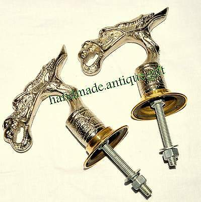 Unusual Cast Metal Door Handles Pulls Oriental Dragon Bird Vintage Pair Old