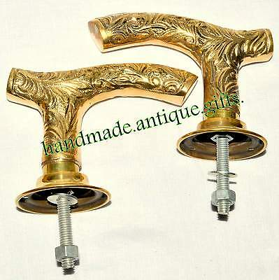 Antique Vtg Pair Brass door handles Church Art Deco Pub Georgian Victorian Deco