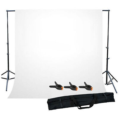 25S8 Photo Studio Background Support Stand with White Backdrop Carrying Case