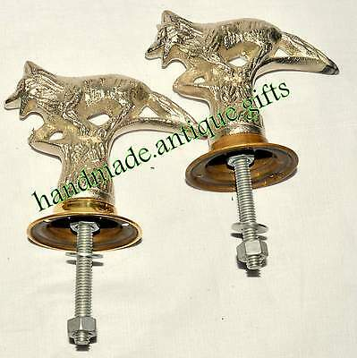 Vintage Pair Fox Metal Door Knob / Handle with plates centre Post