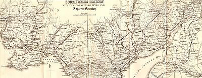 Antique Folding Map,british Isles,wales,south Wales Railway Lines 1860