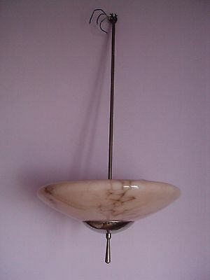 French Antique ceiling lamp, chandelier, marble glass, Art Deco, 1930
