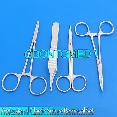 New Professional 4 Pc Classic Suture Laceration Removal Kit Set