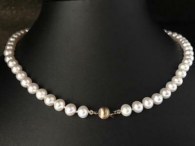 New 14Ct Gold Quality 7.5Mm Cultured Freshwater Pearl 18In Necklace - 725