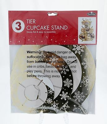3 Tier Cupcake Stand  Gold Chrsitmas Snowflakes Easy To Assemble