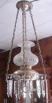 Antique Silverplate Silver Eastlake Victorian Crystal Chandelier 1900's circa