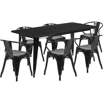31.5'' X 63'' Rectangular Black Metal Restaurant Table Set With 6 Arm Chairs