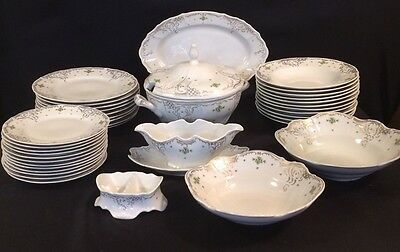 Bernadotte Czech Porcelain China Ivory with with Gold Trim 38 Piece Mixed Lot