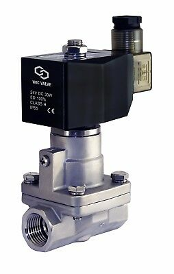 """High Pressure Stainless Steel Steam Solenoid Process Valve 24V DC PTFE 1/2"""" Inch"""