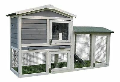 BUNNY BUSINESS The Grove Grey Double Decker Rabbit/ Guinea Pig Hutch and Run