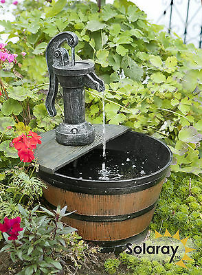 Tap & Half Barrel Solar Fountain Cascade Water Feature Garden Outdoor Patio New