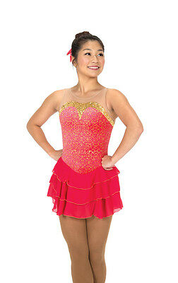 NEW COMPETITION FIGURE SKATING DRESS Jerrys Coral Cascade Gold Adult Large AL