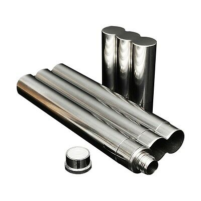 2in1 Silver Stainless Steel 2 Cigar + Liquid Wine Flask Tubes Case Holder ED
